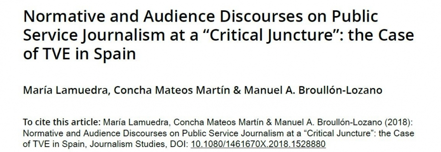 "Normative and Audience Discourses on Public Service Journalism at a ""Critical Juncture"""