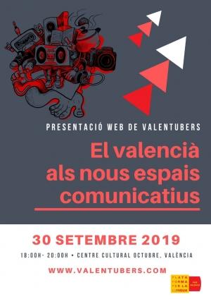 VALENTUBERS, presentació del web del youtube en valencià. 30/9/19