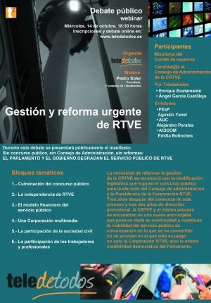 Gestión y reforma urgente de RTVE. Debate  público